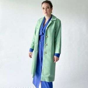 vintage 1970s light green coat with pearl buttons